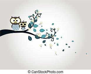 かわいい, 木, 2, ブランチ, フクロウ