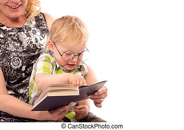 かわいい, 本, 読書, 子供, 幸せ