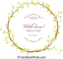 かわいい, 植物相, グランジ, 花輪, デザイン, 花, 小枝, あなたの