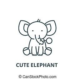 かわいい, 概念, アウトライン, 平ら, 印, イラスト, シンボル, vector., 象, アイコン, 線