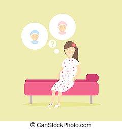 かわいい, 概念, デザイン, 夢を見ること, 心づかい, 彼女, 母性, 特徴, 隔離された, 新しい生命, 女, 喜び, children., 女性, 男の子, について, 妊娠した, 考えなさい, girl., 未来, ∥あるいは∥