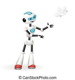 かわいい, 概念, 自由, 解放, ロボット, 隔離された, 背景, 白は潜った