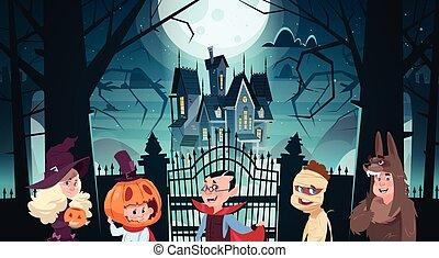 かわいい, 歩くこと, 城, 恐怖, ハロウィーン, 挨拶, 漫画, 装飾, 暗い, パーティー, 幻影, 休日, 旗...