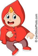 かわいい, 歩くこと, 外套, 魔女, 赤, 子供