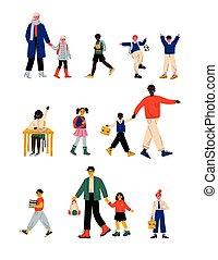 かわいい, 歩くこと, 男の子, 生徒, 勉強, 女の子, 学校, イラスト, ∥(彼・それ)ら∥, ベクトル, 親, 朝, 子供