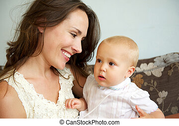 かわいい, 母, 赤ん坊, 肖像画, 幸せに微笑する