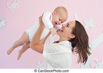 かわいい, 母, 赤ん坊, 肖像画, 遊び, 幸せ