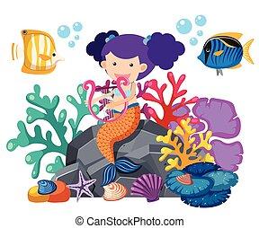 かわいい, 水中, fish, 遊び, mermaid, ハープ