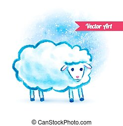 かわいい, 水彩画, sheep.