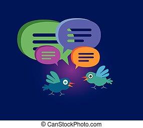 かわいい, 泡, スピーチ, 鳥, 漫画