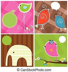 かわいい, 泡, スピーチ, 鳥, 象