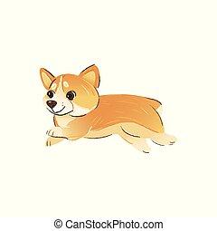 かわいい, 漫画, ウェールズ, サイド光景, 品種, 犬, 動くこと, スタイル, corgi
