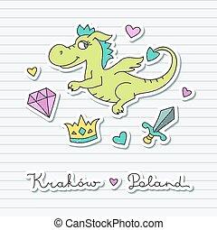 かわいい, 漫画, ドラゴン