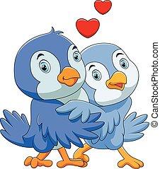 かわいい, 漫画, 恋人, 鳥
