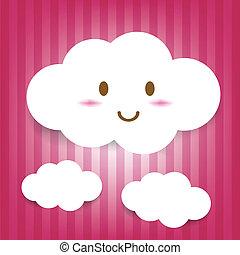 かわいい, 漫画, 雲, アイコン