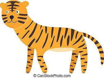 かわいい, 漫画, tiger, 黒, オレンジ, 微笑, しまのある