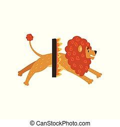 かわいい, 火, サーカス, 特徴, イラスト, 漫画, ライオン, ベクトル, によって, 背景, 白いリング, 跳躍