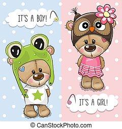 かわいい, 熊, 挨拶, シャワー, 赤ん坊, カード