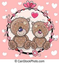 かわいい, 熊, 挨拶, 2, 漫画, カード