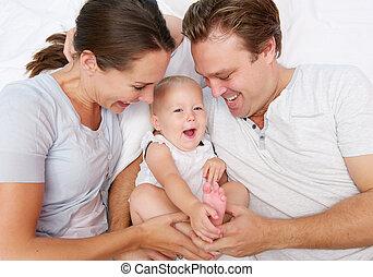 かわいい, 父, 母, 赤ん坊, 肖像画, 遊び, 幸せ