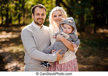 かわいい, 父, 若い, 息子, 母, 赤ん坊, 幸せ