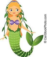 かわいい, 特徴, イラスト, 漫画, ベクトル, hair., 藻, style., mermaid