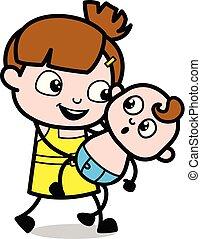 かわいい, 特徴, -, イラスト, 遊び, ベクトル, 保有物の赤ん坊, 女の子, 漫画