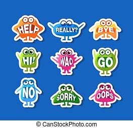 かわいい, 特徴, 口, イラスト, セット, モンスター, 面白い, ベクトル, 言葉, ステッカー, ∥(彼・それ)ら∥, emoji