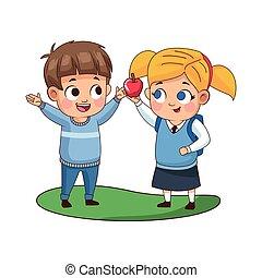 かわいい, 特徴, 子供, アップル, わずかしか, 恋人