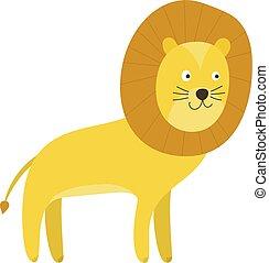 かわいい, 特徴, 黄色, ライオン, 微笑, 漫画