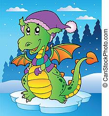 かわいい, 現場, 冬, ドラゴン
