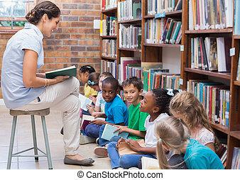 かわいい, 生徒, 床の上に座る, 中に, 図書館