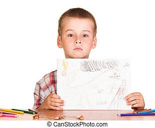 かわいい, 男の子のモデル, テーブル, 保有物, 図画, 白, バックグラウンド。