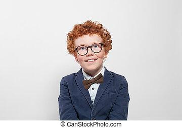かわいい, 男の子, の上, 見る, 背景, redhead, 白, ガラス