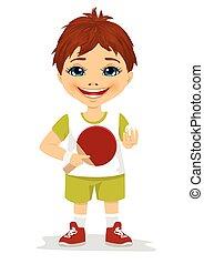 かわいい, 男の子, テニス, 保有物, ラケット, テーブル