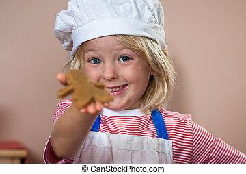 かわいい, 男の子, 得意である, の上, 保有物, gingerbread の 人
