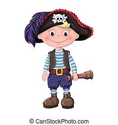 かわいい, 男の子, 海賊, 子供