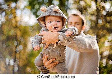 かわいい, 男の子, 父, 手, 赤ん坊, 肖像画, 微笑
