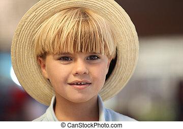 かわいい, 男の子, hat.
