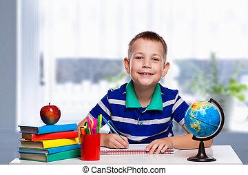 かわいい, 男生徒, ある, 執筆, 中に, 教室