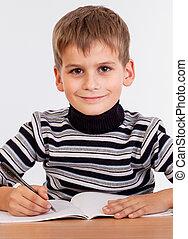 かわいい, 男生徒, ある, writting