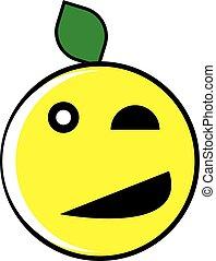 かわいい, 白, セット, 特徴, レモン。 果物, ベクトル, 隔離された