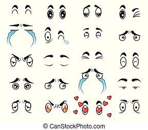 かわいい, 目, セット, コレクション, ベクトル, 漫画
