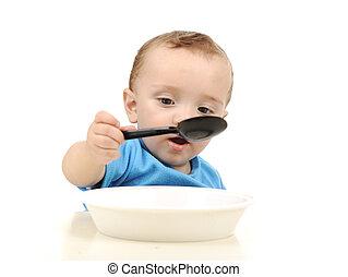かわいい, 目, 古い, プレート, 1(人・つ), スプーン, 緑, 年, 赤ん坊の食べること, 愛らしい, テーブル