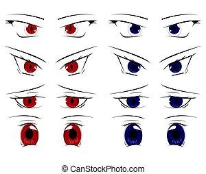 かわいい, 目, 漫画, セット