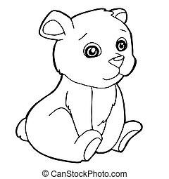 かわいい, 着色, イラスト, 漫画, ベクトル, 熊, ページ