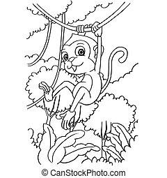 かわいい, 着色, サル, イラスト, 漫画, ベクトル, ページ
