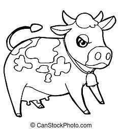 かわいい, 着色, 牛, イラスト, ∥あるいは∥, ベクトル, 牛, 漫画, ページ