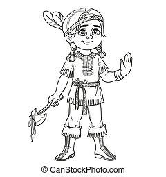 かわいい, 着色, 男の子, 概説された, インドの衣装, ページ