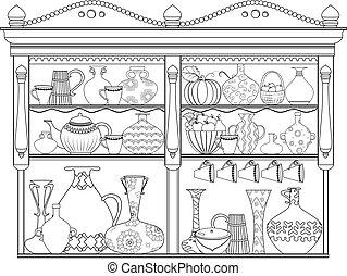 かわいい, 着色, 食器棚, ポット, 本, 花びん, あなたの